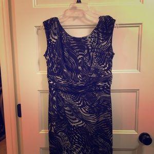 AB Studio black & silver animal print dress - M